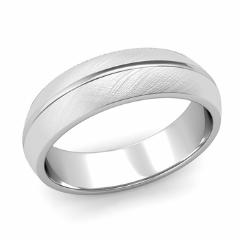 Carved Comfort Fit Wedding Ring in 14k Gold Mixed Brushed Band, 6mm