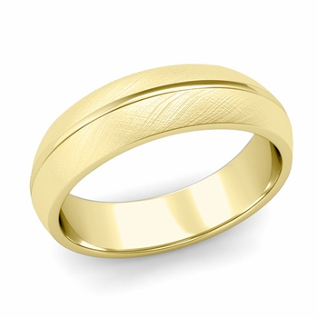 Carved Comfort Fit Wedding Ring in 18K Gold Mixed Brushed Band, 6mm