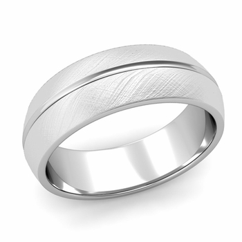 Carved Comfort Fit Wedding Ring in 14k Gold Mixed Brushed Band, 7mm