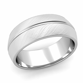 Carved Comfort Fit Wedding Ring in 14k Gold Mixed Brushed Band, 8mm