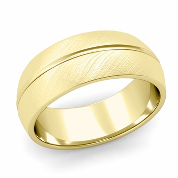 Carved Comfort Fit Wedding Ring in 18K Gold Mixed Brushed Band, 8mm