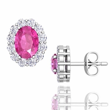 Oval Pink Sapphire and Halo Diamond Earrings in 14k Gold, 7x5mm Studs