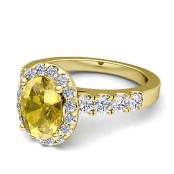 Brilliant Pave Set Diamond and Yellow Sapphire Halo Engagement Ring in 18k Gold, 7x5mm