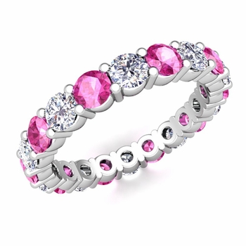 Diamond and Pink Sapphire Eternity Ring Band in 14k Gold