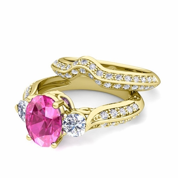 Vintage Inspired Diamond and Pink Sapphire Three Stone Ring Bridal Set in 18k Gold, 7x5mm