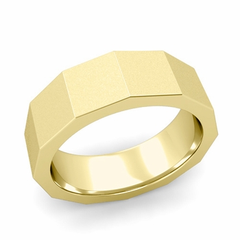 Square Comfort Fit Wedding Ring in 18k Gold Matte Satin Finish Band, 7mm
