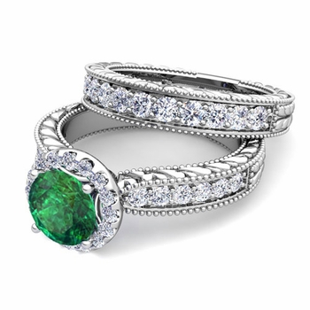Vintage Inspired Diamond and Emerald Engagement Ring Bridal Set in Platinum, 7mm