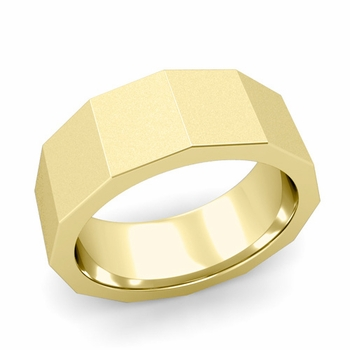 Square Comfort Fit Wedding Ring in 18k Gold Matte Satin Finish Band, 8mm