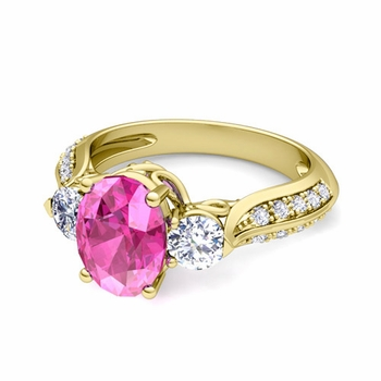 Vintage Inspired Diamond and Pink Sapphire Three Stone Ring in 18k Gold, 9x7mm