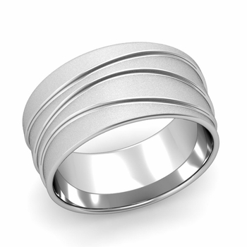 Wave Comfort Fit Wedding Ring in Platinum Satin Finish Band, 10mm