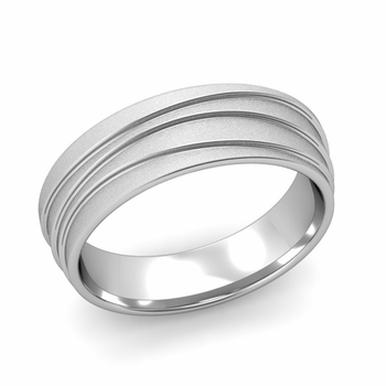 Wave Comfort Fit Wedding Ring in Platinum Satin Finish Band, 6mm