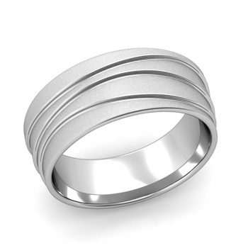 Wave Comfort Fit Wedding Ring in Platinum Satin Finish Band, 8mm