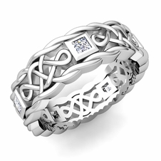 Princess Cut Diamond Ring in Platinum Celtic Knot Wedding Band, 7mm