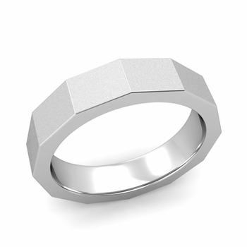 Square Comfort Fit Wedding Ring in Platinum Matte Satin Finish Band, 5mm