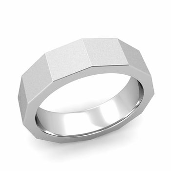 Square Comfort Fit Wedding Ring in Platinum Matte Satin Finish Band, 6mm