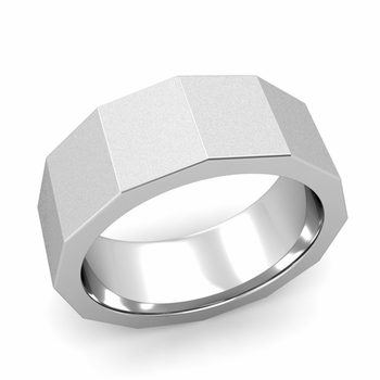 Square Comfort Fit Wedding Ring in Platinum Matte Satin Finish Band, 8mm