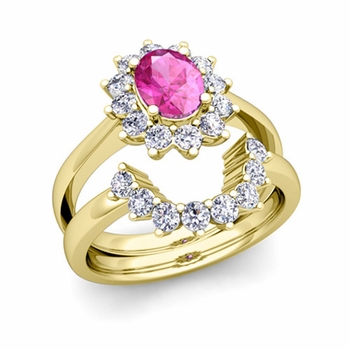 Diamond and Pink Sapphire Diana Engagement Ring Bridal Set in 18k Gold, 9x7mm