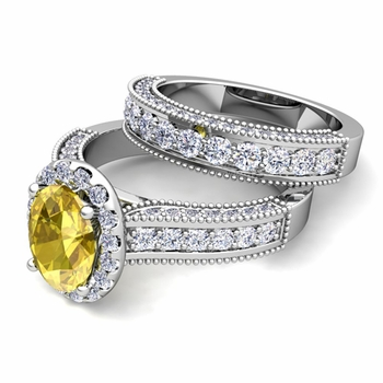 Bridal Set of Heirloom Diamond and Yellow Sapphire Engagement Wedding Ring in Platinum, 7x5mm