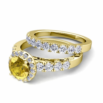 Halo Bridal Set: Pave Diamond and Yellow Sapphire Wedding Ring Set in 18k Gold, 7mm