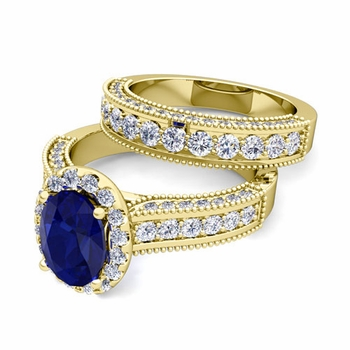 Bridal Set of Heirloom Diamond and Sapphire Engagement Wedding Ring in 18k Gold, 9x7mm