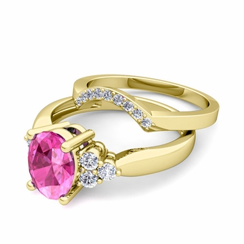 Three Stone Diamond and Pink Sapphire Engagement Ring Bridal Set in 18k Gold, 9x7mm