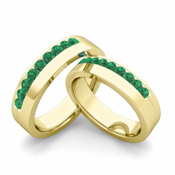 Matching Wedding Bands: Channel Set Emerald Wedding Rings in 18k Gold