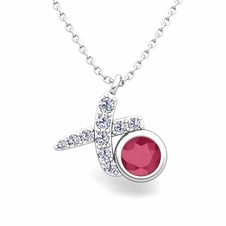 Pave Diamond and Solitaire Ruby in 14k Gold XO Pendant