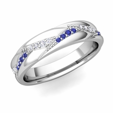 Wave Wedding Band in 14k Gold Diamond and Sapphire Ring, 5mm