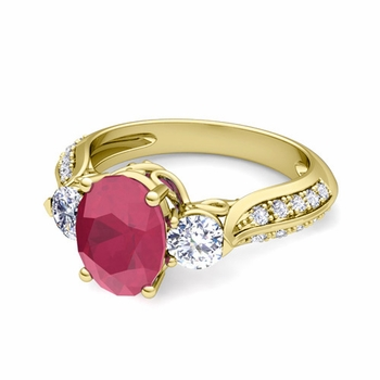 Vintage Inspired Diamond and Ruby Three Stone Ring in 18k Gold, 7x5mm