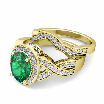 Infinity Diamond and Emerald Engagement Ring Bridal Set in 18k Gold, 7x5mm