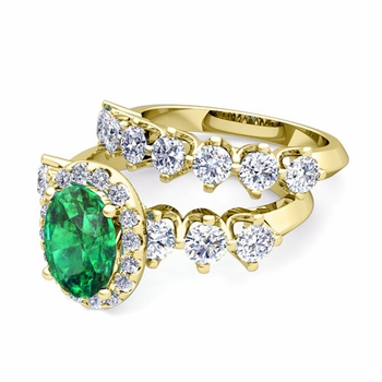 Bridal Set of Crown Set Diamond and Emerald Engagement Wedding Ring in 18k Gold, 7x5mm