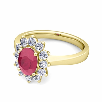 Brilliant Diamond and Ruby Diana Engagement Ring in 18k Gold, 9x7mm