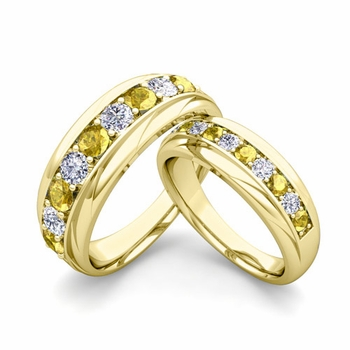 Matching Wedding Band in 18k Gold Brilliant Diamond Yellow Sapphire Wedding Rings