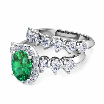 Bridal Set of Crown Set Diamond and Emerald Engagement Wedding Ring in Platinum, 7x5mm