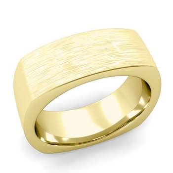 Square Comfort Fit Wedding Ring in 18K Gold Matte Brushed Band, 8mm