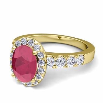 Brilliant Pave Set Diamond and Ruby Halo Engagement Ring in 18k Gold, 7x5mm