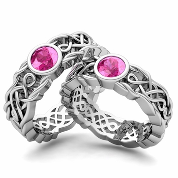 Matching Wedding Band in Platinum Solitaire Pink Sapphire Ring