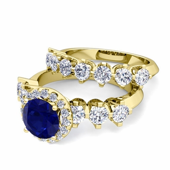 Bridal Set of Crown Set Diamond and Sapphire Engagement Wedding Ring in 18k Gold, 7mm