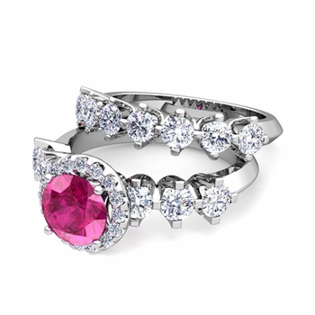 Bridal Set of Crown Set Diamond and Pink Sapphire Engagement Wedding Ring in 14k Gold, 7mm