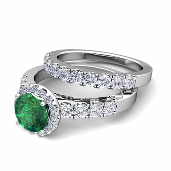 Halo Bridal Set: Pave Diamond and Emerald Wedding Ring Set in Platinum, 7mm