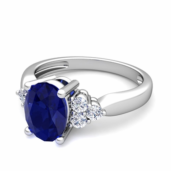 Three Stone Diamond and Blue Sapphire Engagement Ring in Platinum, 7x5mm