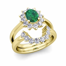 Diamond and Emerald Diana Engagement Ring Bridal Set in 18k Gold, 8x6mm