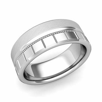 Milgrain and Brick Wedding Ring in Platinum Comfort Fit Band, Mixed Brushed Finish, 8mm