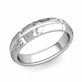 Brick Comfort Fit Wedding Band Ring in Platinum, Hammered Finish, 5mm
