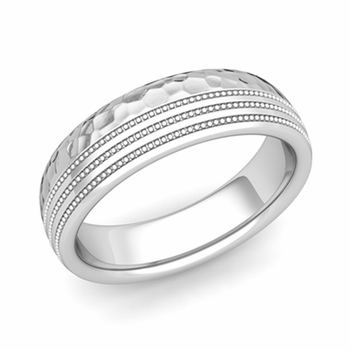 Milgrain Dome Wedding Ring in Platinum Comfort Fit Band, Hammered Finish, 6mm