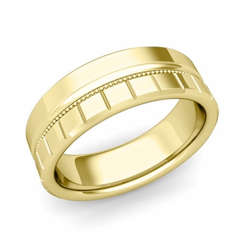 Milgrain and Brick Wedding Ring in 18k Gold Comfort Fit Band, Polished Finish, 7mm