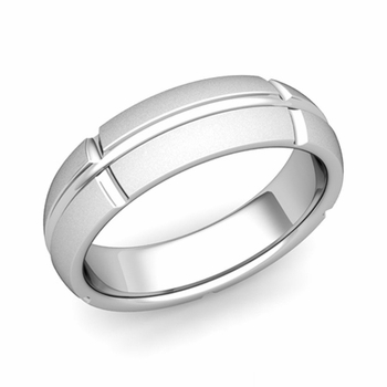 Brick Comfort Fit Wedding Band Ring in Platinum, Satin Finish, 6mm