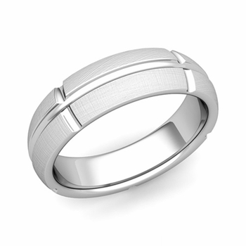 Brick Comfort Fit Wedding Band Ring in Platinum, Mixed Brushed Finish, 6mm