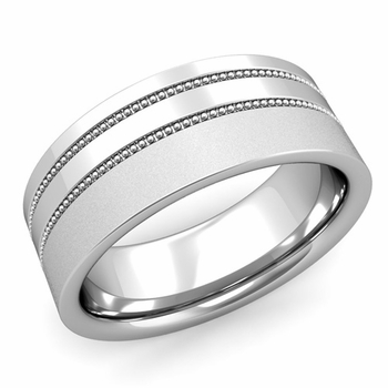 Double Milgrain Wedding Ring in Platinum Comfort Fit Band, Satin Finish, 8mm