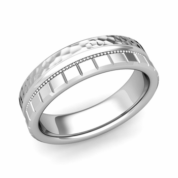 Milgrain and Brick Wedding Ring in 14k Gold Comfort Fit Band, Hammered Finish, 6mm